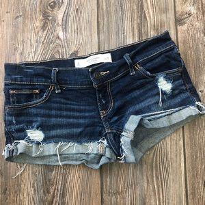 Abercrombie & Fitch Dark Wash Distressed Shorts
